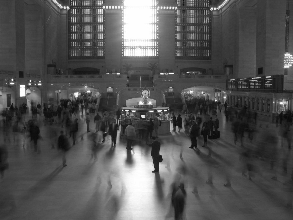 Grand Central Terminal main waiting room. Photo taken from the west staircase. Photo taken by Brian Weinberg, 5/6/2004.