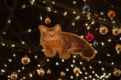 Token, the cat that lives at the Transit Museum, seen here pictured on a decoration hanging from the ceiling of the Transit Muse